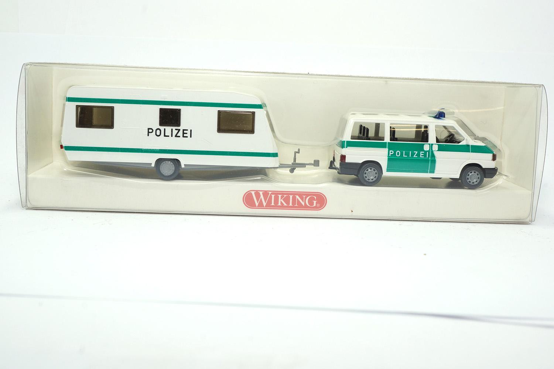 """1:87 #104 16 35 Wiking VW Caravelle mit Wohnwagen /""""Polizei/"""""""