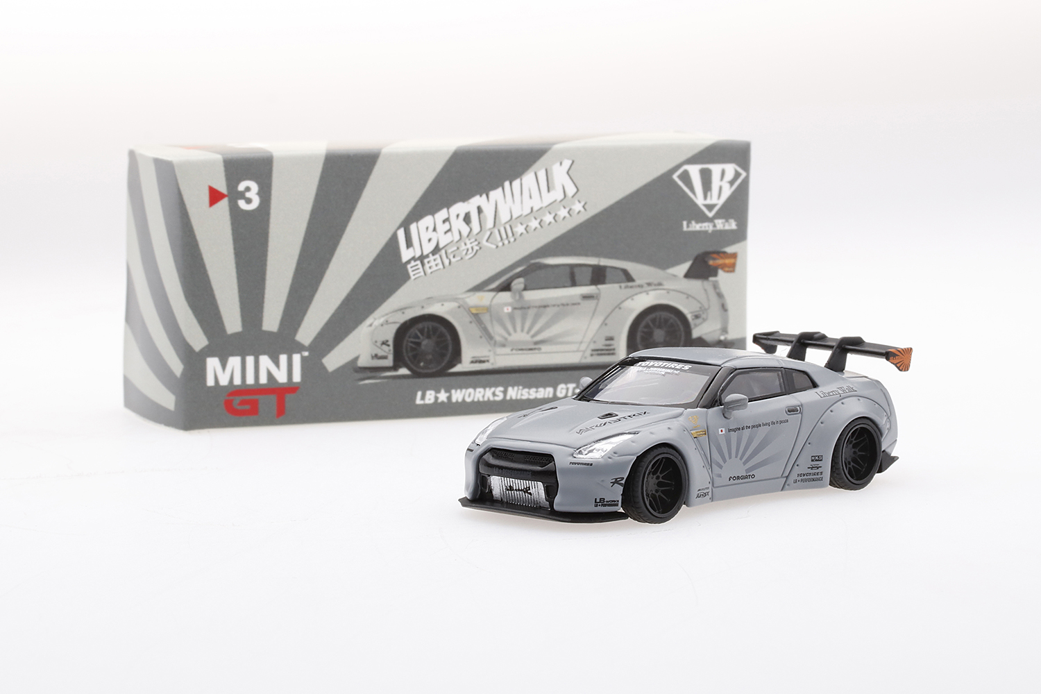 Mini GT 00003-L Liberty Walk Nissan GT-R R35 - Matt Grau 1:64