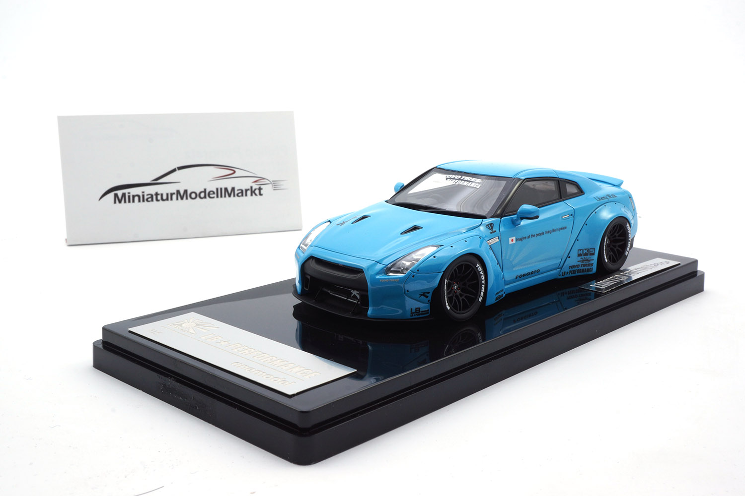 One Model 17B04-20 Liberty Walk Nissan GT-R (R35) - Baby Blue - Ducktail 1:43