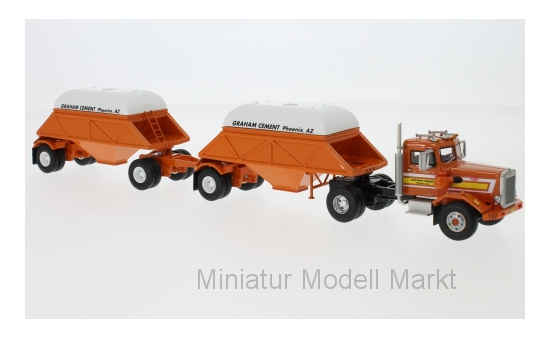 Neo 64072 Peterbilt 281 SBFA Needle Nose, orange, with Bottom Dump Trailer (closed), 1971 1:64