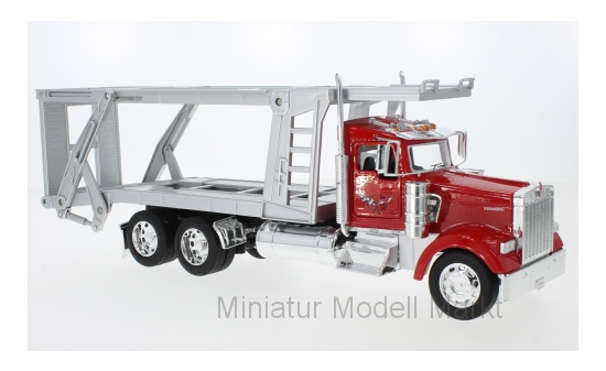 Welly 32661RED Kenworth W900, rot/silber, Autotransporter 1:32