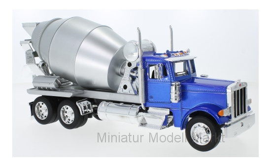Welly 39943BLUE Peterbilt 379, metallic-blau/silber, Betonmischer 1:32