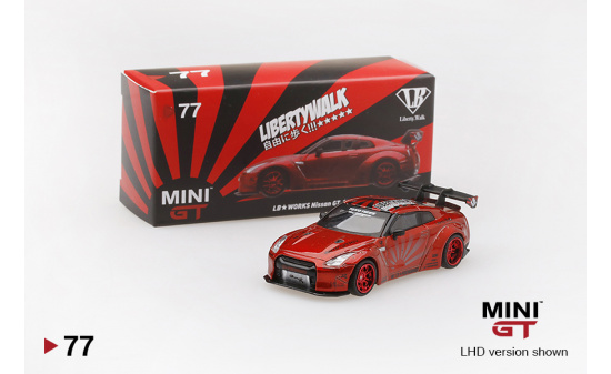 Mini GT MGT00077-L LB★Works Nissan GT-R (R35) Candy Red (LHD) 1:64