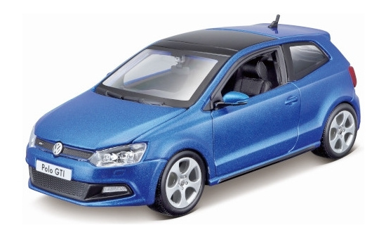 Bburago 18-21059BLUE VW Polo V GTI, metallic-blau 1:24